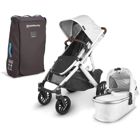 UPPAbaby VISTA V2 Stroller - BRYCE (white marl/silver/chestnut leather) + Travel Bag