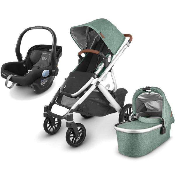 UPPAbaby VISTA V2 Stroller - EMMETT (green melange/silver/saddle leather) + MESA Infant Car Seat - JAKE (black)