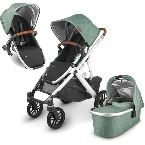 UPPAbaby VISTA V2 Stroller - EMMETT (green melange/silver/saddle leather) + Upper Adapters + RumbleSeat