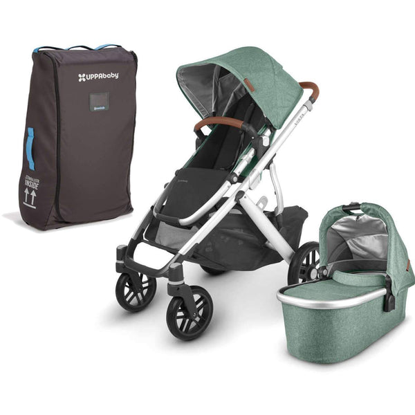 UPPAbaby VISTA V2 Stroller - EMMETT (green melange/silver/saddle leather) + TravelBag