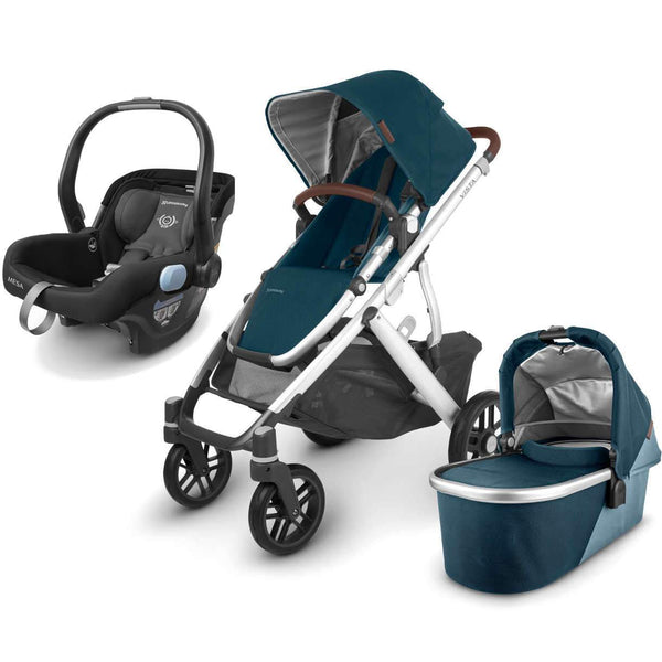 UPPAbaby VISTA V2 Stroller - FINN (deep sea/silver/chestnut Leather) + MESA Infant Car Seat - JAKE (black)