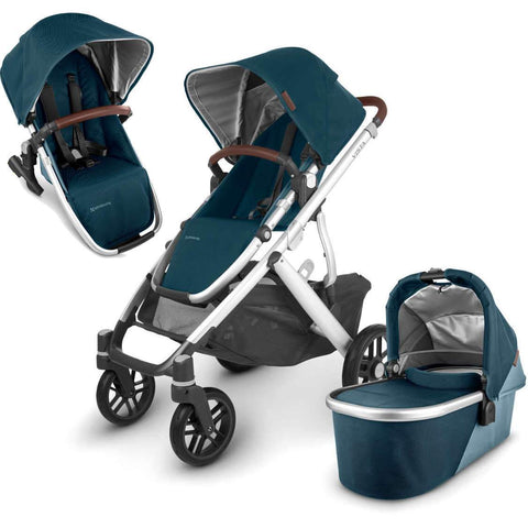 UPPAbaby VISTA V2 Stroller - FINN (deep sea/silver/chestnut Leather) + Upper Adapters + RumbleSeat