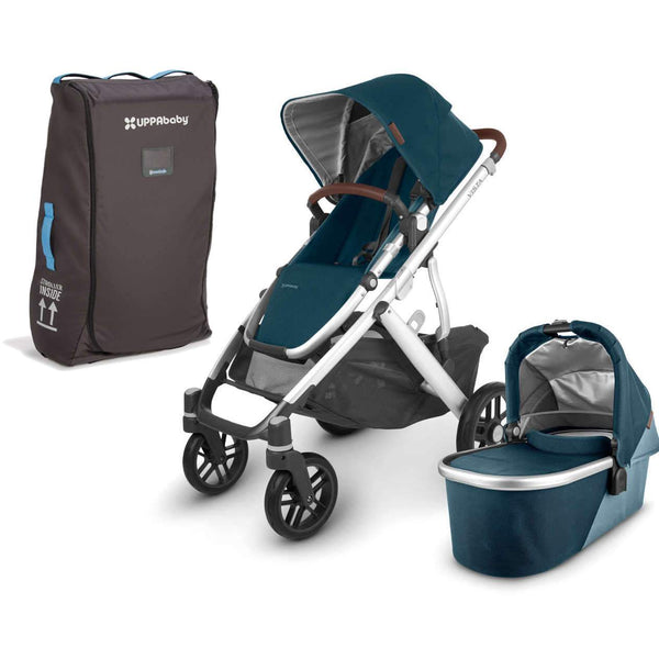 UPPAbaby VISTA V2 Stroller - FINN (deep sea/silver/chestnut Leather) + Travel Bag
