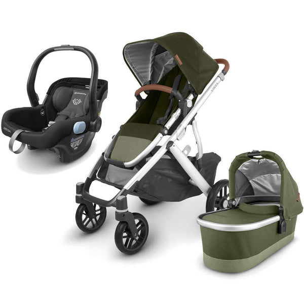 UPPAbaby VISTA V2 Stroller - HAZEL (olive/silver/saddle leather) + MESA Infant Car Seat - JAKE (black)