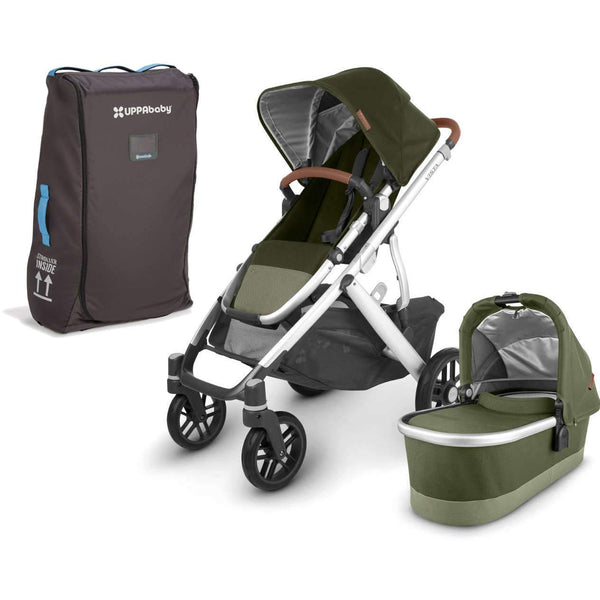 UPPAbaby VISTA V2 Stroller - HAZEL (olive/silver/saddle leather) + Travel Bag