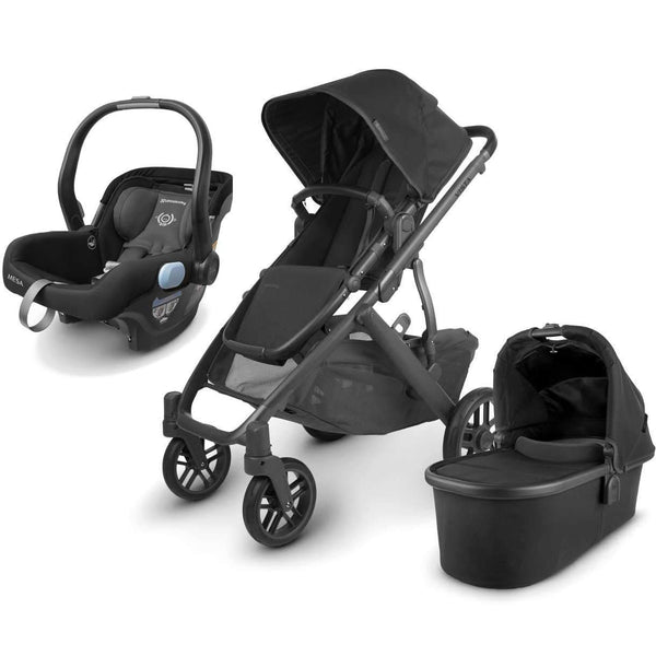 UPPAbaby VISTA V2 Stroller - JAKE (black/carbon/black leather) + MESA Infant Car Seat