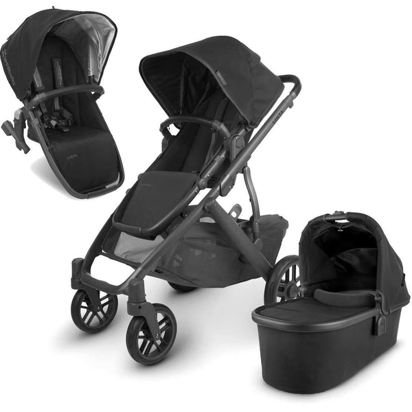 UPPAbaby VISTA V2 Stroller - JAKE (black/carbon/black leather) + Upper Adapter + RumbleSeat