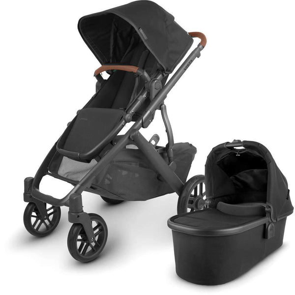 UPPAbaby VISTA V2 Stroller - JAKE (black/carbon/black leather) + Saddle Leather Handlebar Covers + Saddle Leather Bumper Bar Covers