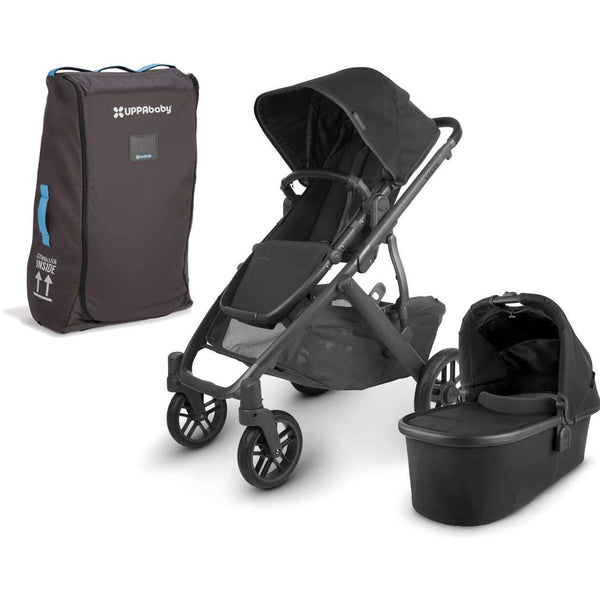 UPPAbaby VISTA V2 Stroller - JAKE (black/carbon/black leather) + Travel Bag