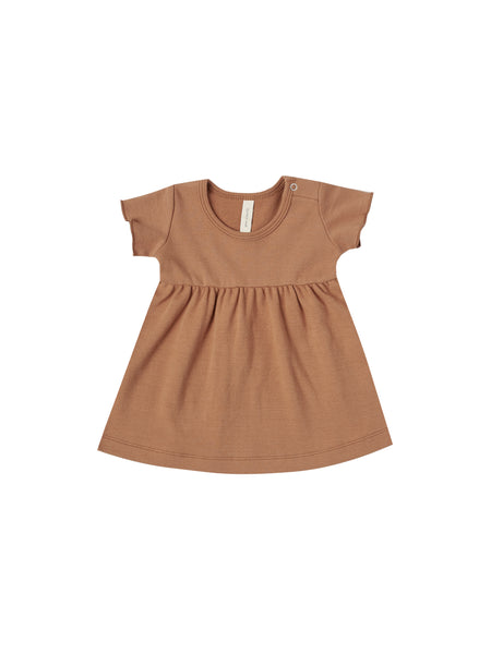 Short Sleeve Baby Dress in Rust by Quincy Mae