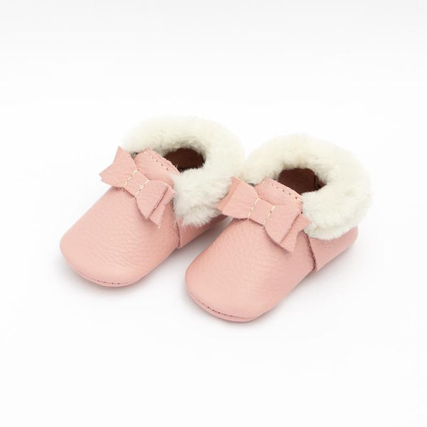Shearling Bow Moccasins in Blush by Freshly Picked