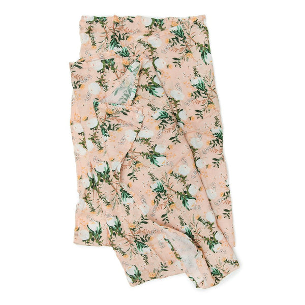 Muslin Swaddle in Blushing Protea by Loulou Lollipop