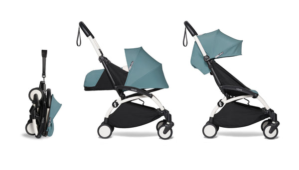 BABYZEN YOYO² Complete Stroller with Newborn & Toddler Color Pack Fabric Set in Aqua with White Frame