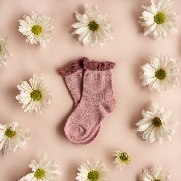 Little Stocking Co. Mauve Two-tone Anklet Socks