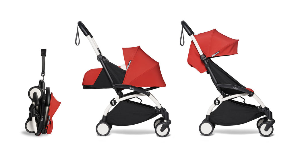 BABYZEN YOYO² Complete Stroller with Newborn & Toddler Color Pack Fabric Set in Red with White Frame