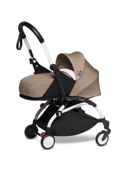 BABYZEN YOYO² Complete Stroller with Newborn Color Pack Fabric Set in Taupe with White Frame