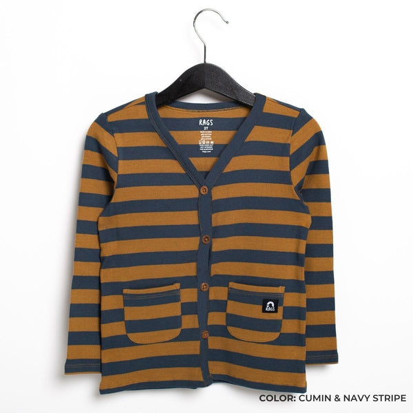 Kids Essentials Cardigan in Cumin & Midnight Navy Stripe by RAGS