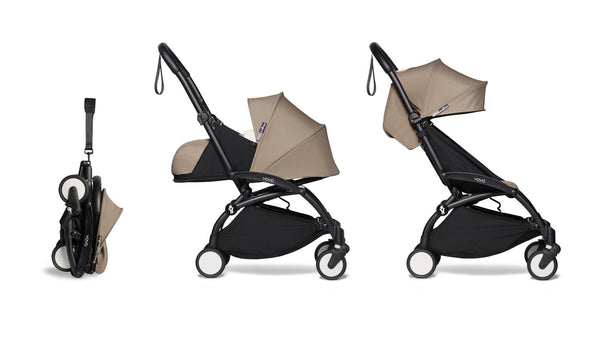 BABYZEN YOYO² Complete Stroller with Newborn & Toddler Color Pack Fabric Set in Taupe with Black Frame