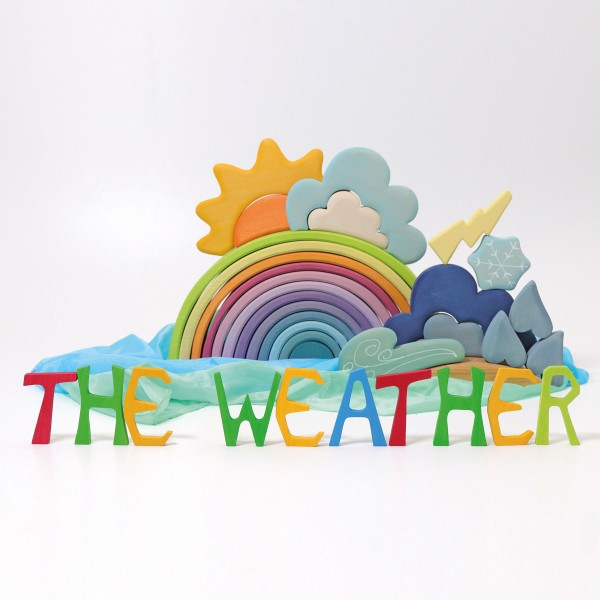 Weather Building Set + Weather Board Book Bundle by Grimm's (NEW)