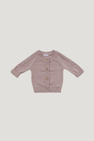 Cable Cardigan in Rose Smoke