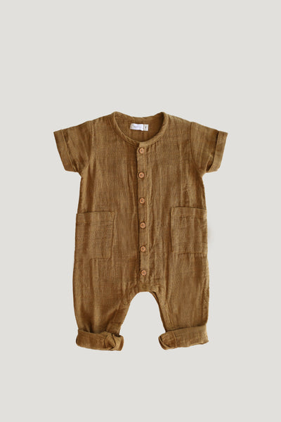 Organic Cotton Muslin Ryan One-Piece in Bronze by Jamie Kay