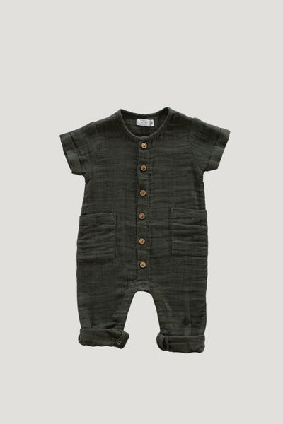 Organic Cotton Muslin Ryan One-Piece in Juniper by Jamie Kay