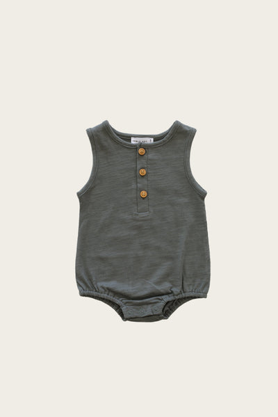 Slub Cotton Riley Romper in Oxford by Jamie Kay