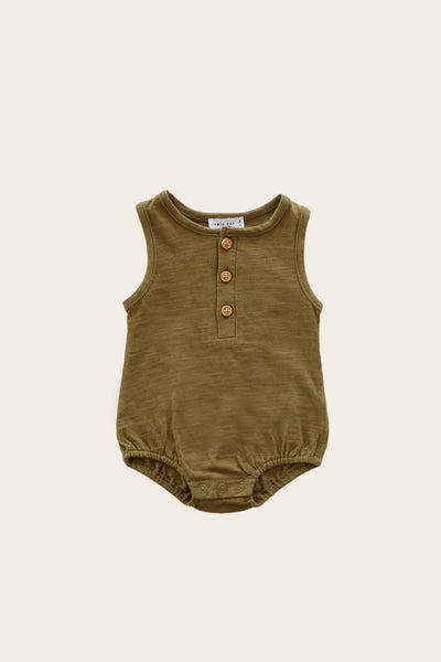 Slub Cotton Riley Romper in Ivy by Jamie Kay