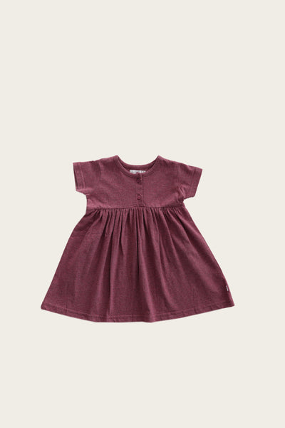 Organic Cotton Short Sleeve Dress in Pink Raspberry by Jamie Kay
