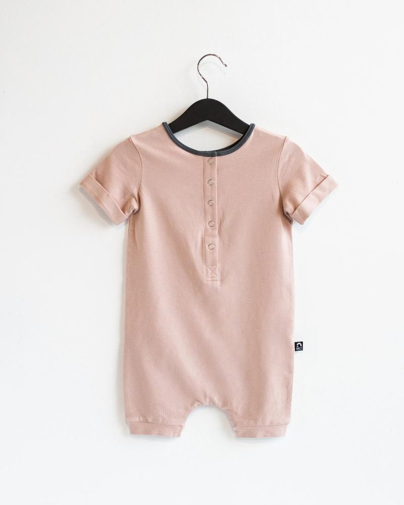 Rolled Sleeve Short Henley Rag Spring Essentials Rag in Adobe Rose by RAGS
