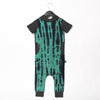 Short Sleeve Hooded Peek Pocket Rag Romper in Basil & Phantom by RAGS