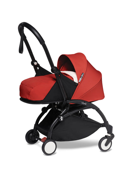 BABYZEN YOYO² Complete Stroller with Newborn Color Pack Fabric Set in Red with Black Frame