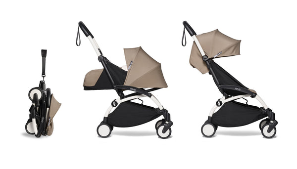 BABYZEN YOYO² Complete Stroller with Newborn & Toddler Color Pack Fabric Set in Taupe with White Frame