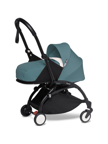 BABYZEN YOYO² Complete Stroller with Newborn Color Pack Fabric Set in Aqua with Black Frame