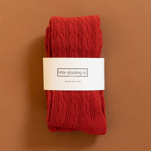Little Stocking Co. Spice Red Cable Knit Tights