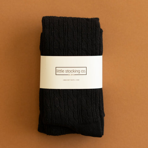 Little Stocking Co. Black Cable Knit Tights