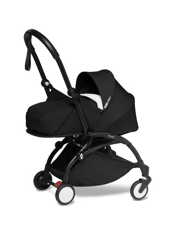 BABYZEN YOYO² Complete Stroller with Newborn Color Pack Fabric Set in Black with Black Frame