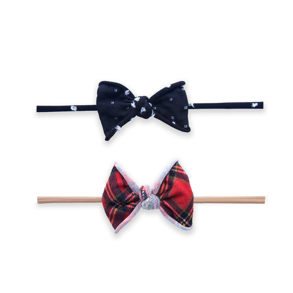 2-Pack Mini Print Skinny Bow in Tartan Dot by Baby Bling
