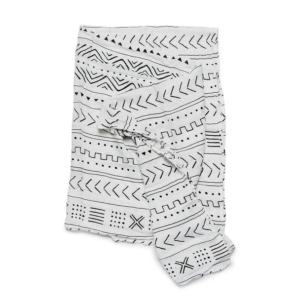 Muslin Swaddle in White Mudcloth by Loulou Lollipop