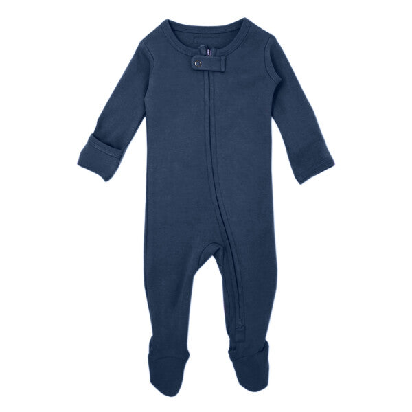 Organic Zipper Baby Footie in Abyss by L'ovedbaby