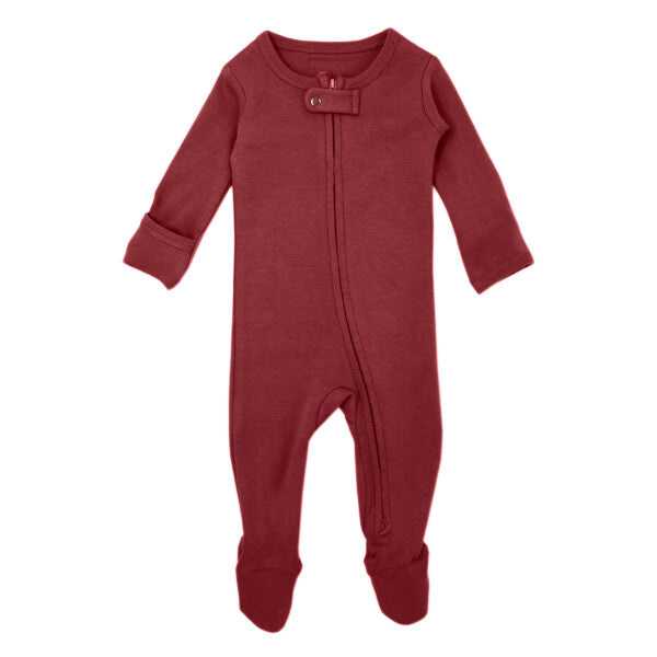 Organic Zipper Baby Footie in Appleberry by L'ovedbaby