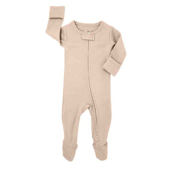 Organic Zipper Baby Footie in Oatmeal by L'ovedbaby