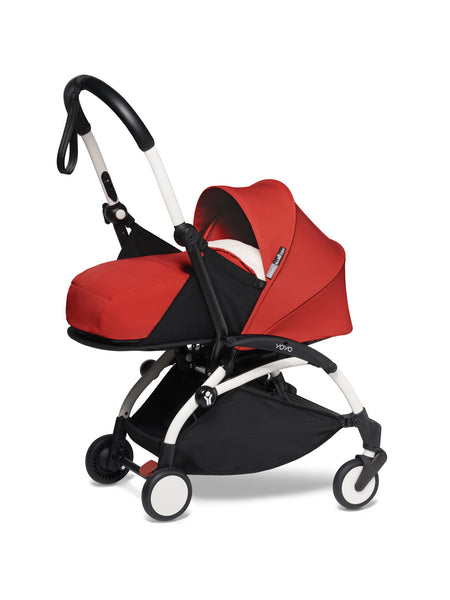BABYZEN YOYO² Complete Stroller with Newborn Color Pack Fabric Set in Red with White Frame