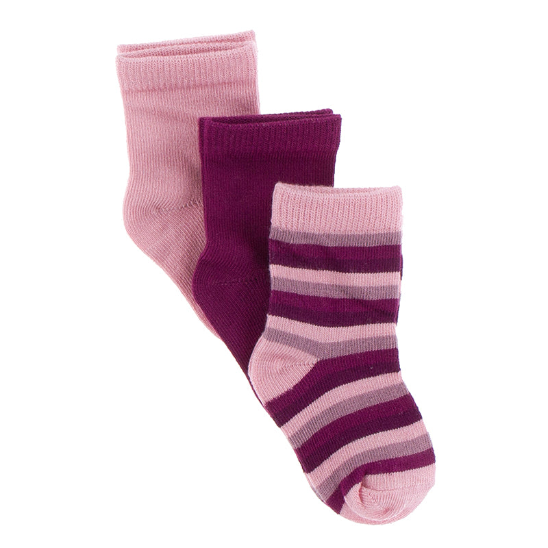 Sock Set in Lotus, Orchid and Coral Stripe by Kickee Pants