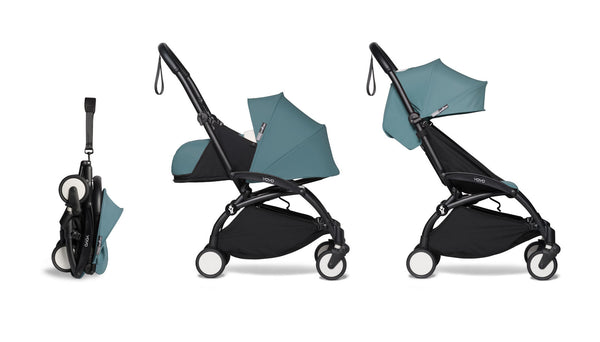 BABYZEN YOYO² Complete Stroller with Newborn & Toddler Color Pack Fabric Set in Aqua with Black Frame