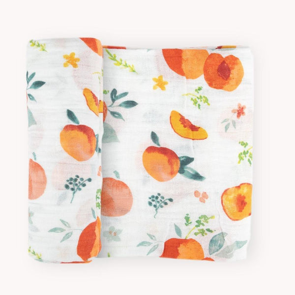 Cotton Muslin Swaddle Blanket in Georgia Peach by Little Unicorn