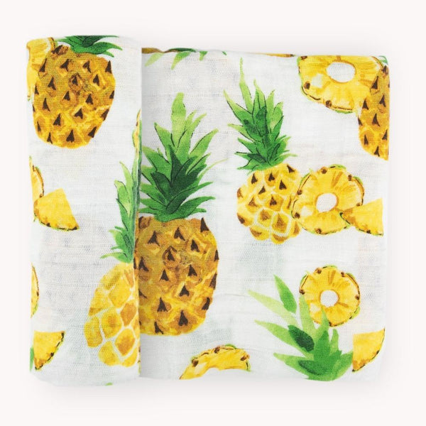 Cotton Muslin Swaddle Blanket in Fresh Pineapple by Little Unicorn