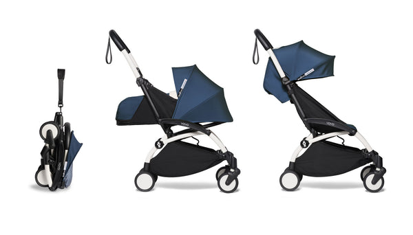 BABYZEN YOYO² Complete Stroller with Newborn & Toddler Color Pack Fabric Set in Air France with White Frame