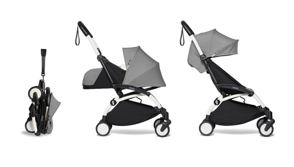 BABYZEN YOYO² Complete Stroller with Newborn & Toddler Color Pack Fabric Set in Grey with White Frame