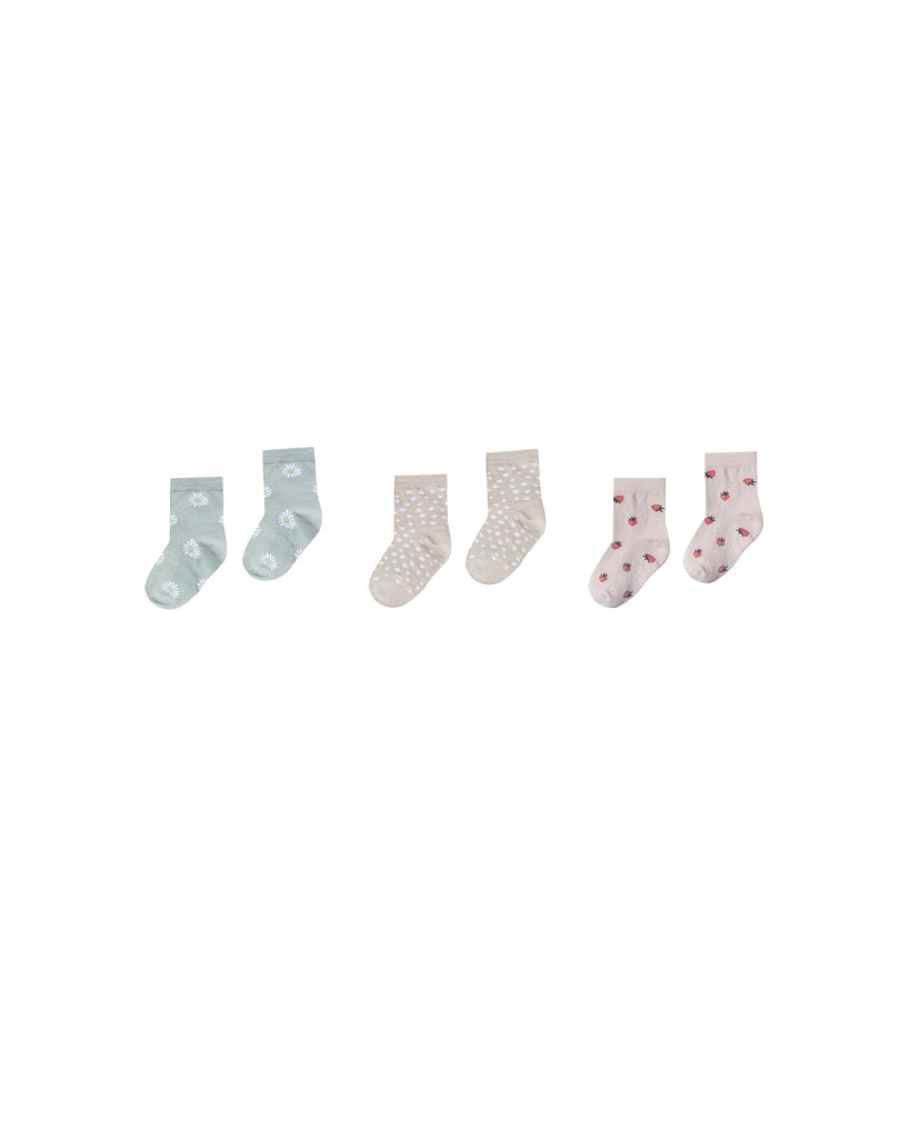 Printed Ankle Sock Set in Daisy, Micro dot and Strawberry by Rylee + Cru